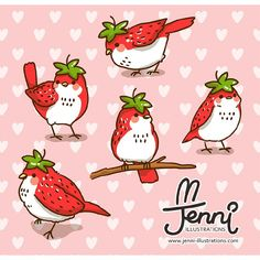 ^ Here is another look at those cutie little strawberry birdies. Kawaii Doodles, Cute Kawaii Drawings, Cute Animal Drawings, Cute Doodles, Bird Drawings, Kawaii Art, Strawberry Drawing, Strawberry Art, Cute Birds