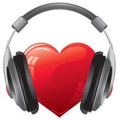 Heart with Headphones PNG Clipart Image