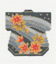 LEE Petite Kimono Maple Leaves handpainted Needlepoint Canvas