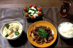 玉ねぎソースは、あめ色になるまで炒めると超甘くなって美味しいよ! - 3件のもぐもぐ - 帆立のクリームシチュー、豚ロースの玉ねぎソース、大根ときゅうりのゴロゴロサラダ by pentarou