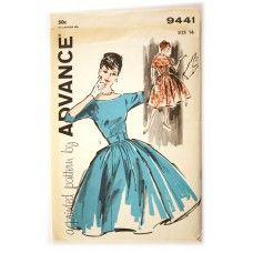 Advance 9441 Vintage Dress Pattern 1960s Full Skirt Cocktail Dress Bust 36