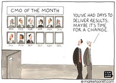 """CMO Of The Month"" - new cartoon and post on why CMO tenure is so low http://tomfishburne.com/2013/10/cmo-of-the-month.html"