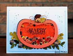 Pumpkin Shaker Card by Larissa Heskett | Falling into Autumn stamp set by Newton's Nook Designs #newtonsnook
