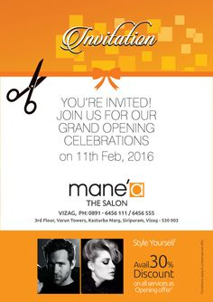 You're invited for grand opening celebrations of India's finest salon at Visakhapatnam #Haircut #Color #Hairspa #Facials #Makeup #Makeover #Bridals #salon