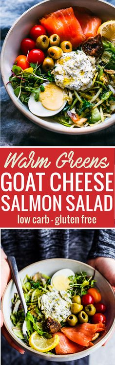 This Warm Greens Saladwith Smoked Salmon and Goat cheese will satisfy your tastebuds and cravings. A low carb warm greens salad packed full of healthy fats and protein. Whipped Goat cheese to top! Simple, grain free, healthy, and so delicious!www.cottercrunch.com @cottercrunch