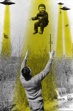 ufo and alien Collage Poster, Art Du Collage, Surreal Collage, Surreal Art, Digital Collage, Collages, Photomontage, Ufo, Digital Foto