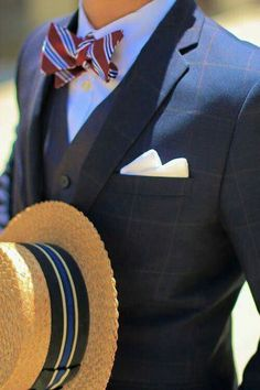 Vintage Straw Boater Striped Bowtie Windowpane Suit Contrasting grey vest I like this look the hat makes the whole deal. Sharp Dressed Man, Well Dressed Men, Style Gentleman, Gentleman Mode, Southern Gentleman, English Gentleman, Modern Gentleman, Gentleman Fashion, Style Dandy