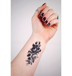 Small vintage roses temporary tattoo by Tattoorary on Etsy, $6.00