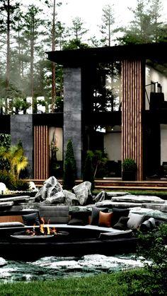 Modern Architecture House, Interior Architecture, Loft Interior, Interior Modern, Casa Loft, Modern Villa Design, Dark House, Luxury Homes Dream Houses, Dream Homes