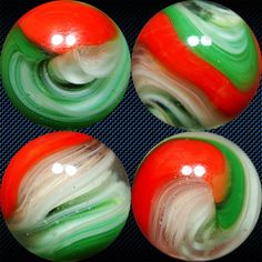 """4 views of a vintage Akro Agate """"Popeye"""" corkscrew marble in Christmas colors, 11/16"""" diam."""