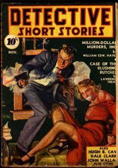 Detective Short Stories, pulp dame woman girl prisoner captive hostage tied bound danger peril crime gun pistol shot red dress rescue