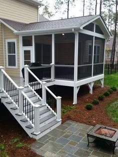 Classic Screened Porch with Trex Deck and Bluestone Patio — DeckScapes - Modern Design Screened In Porch Diy, Screened Porch Designs, Patio Deck Designs, Patio Design, Porch And Patio, Front Porch, Patio Diy, Backyard Patio, Budget Patio