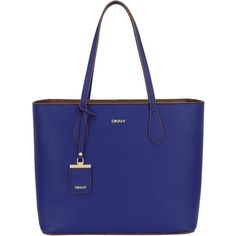 DKNY Bryant Park Saffiano Leather Zip Shopper Bag, Blue/Luggage ($305) ❤ liked on Polyvore featuring bags, handbags, tote bags, dkny purses, zip tote bag, over the shoulder purse, dkny tote bag and dkny tote