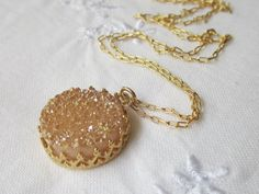 Peach druzy necklace 14k gold filled necklace by EldorTinaJewelry, $64.00