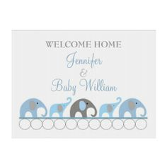 Blue & Gray Elephant Welcome Home Mom and Baby Lawn Sign #Baby Shower Guest Book- #Spiral Notebooks, #baby shower, #party favors, #twins, #shower favors, #birth announcements, #baby boy, #baby girl, #cheap, #inexpensive, #personalized, #shower party favors, #unique, #favor ideas, #favor, #favour, #babies, #infant, #timelesstreasure
