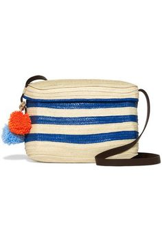Cream and blue raffia, brown leather  Top flap Due to the unique nature of the design, these pieces may differ from that pictured Imported