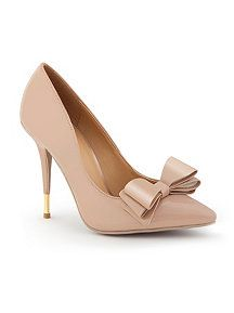 Large Bow with Gold Heel Accent Patent Pump - These will be mine TOMORROW.