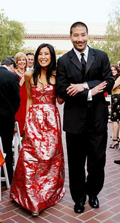 Journalist/Actress Lisa Ling wore a red Vivienne Tam wedding dress when she married radiation oncologist Paul Song May 26, 2007.  They became first-time parents when she gave birth to their daughter Jett Ling on March 8, 2013.