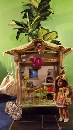 I am honored to share with you a readers DIY Rainforest House that turned out amazing! American Girl Storage, American Girl House, My American Girl Doll, American Girl Crafts, Doll Crafts, Diy Doll, Ag Dolls, Girl Dolls, Lea Clark