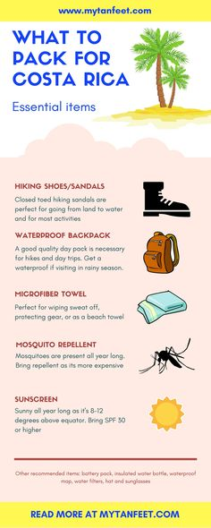 Essential items to pack for Costa Rica. Click here to read more tips: http://mytanfeet.com/about-cr/packing-for-costa-rica-what-to-bring/    Costa Rica | Costa Rica travel tips | Costa Rica travel blog