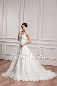 A-line Wedding Dresses V-neck Court Train Organza Satin Ivory 010010102956