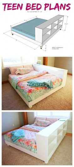 Ana White Teen Platform Bed with Storage Side – DIY Projects - Diy Projects Girls Bedroom, Bedroom Decor, Guest Bedrooms, Bedroom Ideas, Trendy Bedroom, Bedroom Furniture, Ikea Bedroom, Wood Bedroom, Bedroom Bed