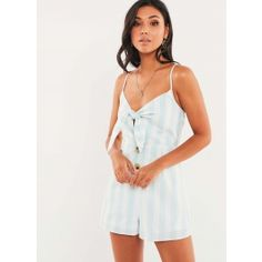 This sugar-sweet playsuit is perfect for your every move… - Mint striped playsuit - Fitted style - Tie-front detail - Contrast tortoiseshell buttons - Adjustable straps - High-wa Casual Dresses, Casual Outfits, Summer Outfits, Summer Clothes, Striped Playsuit, Europe Fashion, Online Clothing Boutiques, Classy Dress, Boutique Clothing