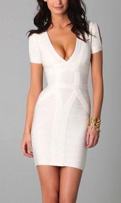 Elegant White Deep V-Neck Short Sleeve Bandage Dress