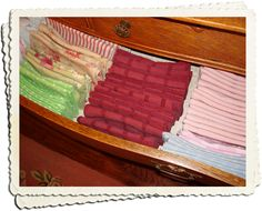Store linen napkins folded-side up!  You'll get twice as many napkins in the drawer and they'll be easier to see and keep neat!