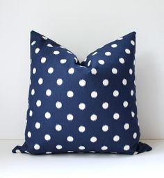 Ikat polka dots Modern Decorative Designer Pillow Cover 18 dark blue navy white Accent Cushion navy spotted spot dot Fall trend. $40.00, via Etsy.