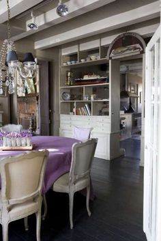 my purple + gray craze continues for this dining room