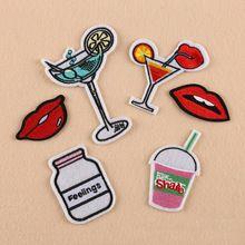 1 PC/Lot Bebidas/Labios Apliques Bordados Parches/insignia Para Mochila/bolsa de decoración de la Ropa accesorios de Hierro-en parche(China (Mainland))