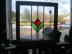 "ANTIQUE ENGLISH LEADED STAINED GLASS WINDOW PANEL 1900s - L16E - 23"" X 22.5"" #English"