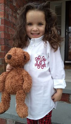 Monogrammed Youth Button Down Shirt Flower Girl by MonogramWorks