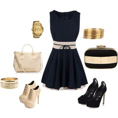 """Cute Navy Dress from Day to Night"" by style-inspiration-and-design on Polyvore"