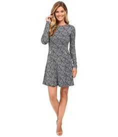 MICHAEL Michael Kors Woodbrook Zip Seam Flare Dress New Navy - Zappos.com Free Shipping BOTH Ways