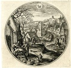 """""""December"""" Engraving by A. Collaert after Hans Bol c. 1580"""