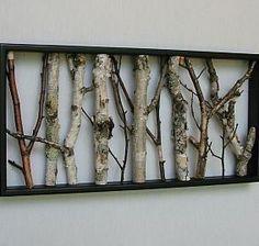 white birch poles | Birch Wall Hanging - Black and White, Open Art, Rustic Art, Shabby ...