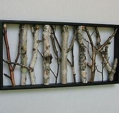 white birch poles | Birch Wall Hanging - Black and White, Open Art, Rustic Art, Shabby ...