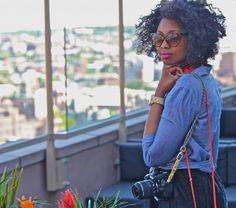 DIY camera strap + natural hair + great photography.
