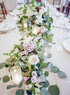 Gorgeous garland: http://www.stylemepretty.com/california-weddings/santa-barbara/2015/01/09/elegant-santa-barbara-spring-wedding/ | Photography: Gia Canali - http://www.giacanali.com/