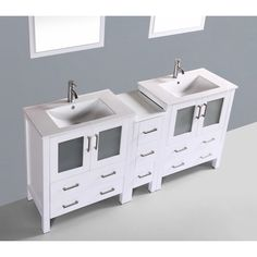 Contemporary 72 inch White Double Sink Bathroom Vanity Set with Mirror