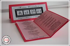 Środek menu weselnego - czerwony ślub / Red Wedding www.cardsdesign.pl