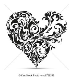 Vector - abstract floral heart. love concept - stock illustration, royalty free illustrations, stock clip art icon, stock clipart icons, logo, line art, EPS picture, pictures, graphic, graphics, drawing, drawings, vector image, artwork, EPS vector art