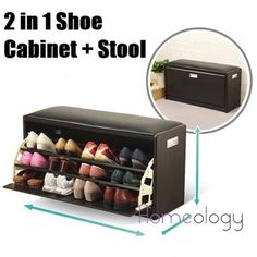[No Assembly Required] 2 in 1 Shoe Cabinet Stool Storage Organizer Wardrobe Cube Display Shoes Rack Box Living Home Leather Household Furniture!