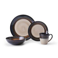 Red Dinnerware Set Galaxy Round Stoneware 16 Piece Kitchen Four Person Setting #Unbranded