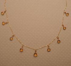 Citrine Necklace,  November Birthstone,  Golden Yellow Gemstone Necklace, Healing Gemstone Jewelry, Delicate Citrine Gold Chain Necklace