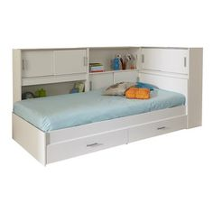 Parisot Snoop Twin Bed with Storage Bookshelf Bed, Bookcase Headboard, Headboard Ideas, Headboards, Plywood Furniture, Furniture Ideas, Eames, Underbed Storage Drawers, Ideas Habitaciones