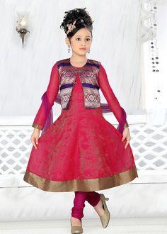 7f7726476e6b Pink Cotton Kids Anarkali Salwar Kameez With Jacket