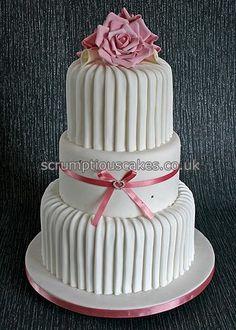 Dusky Pink Roses and Pleats Wedding Cake